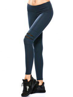 Mesh Panel Stretchy Yoga Leggings - Cadetblue Xl