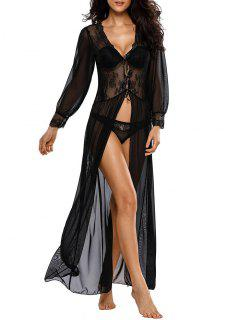 See-Through Sheer Maxi Sleep Dress - Black L