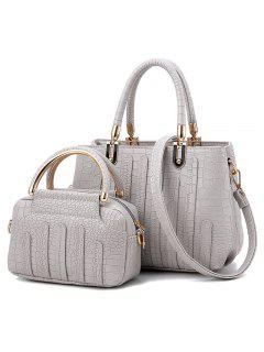 2 Pieces Crocodile Pattern Handbag Set - Light Grey