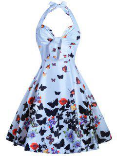 Halter Imprimée À Papillon Forme A Robe - Bleu Clair M