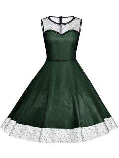 Robe Vintage De Grande Taille Sans Manches Pour Soirées De Cocktail  - Vert Profond Xl