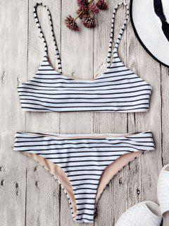 Cami Striped Bralette Bikini Set - White M