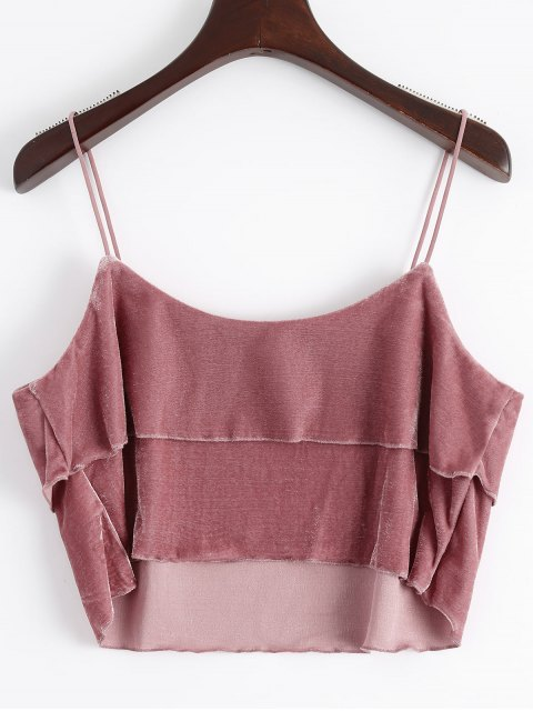 latest Layered Velvet Tank Top - RUSSET-RED 2XL Mobile