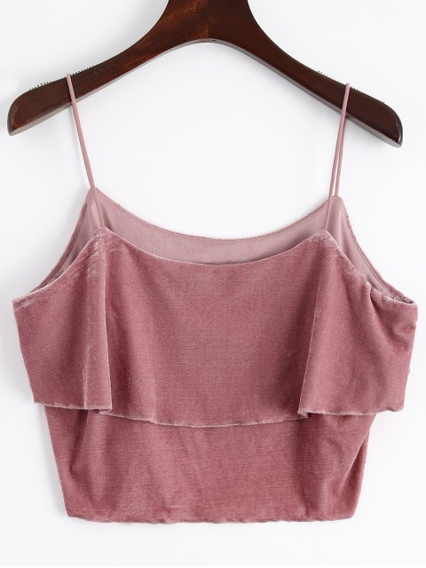 fashion Layered Velvet Tank Top - RUSSET-RED L Mobile