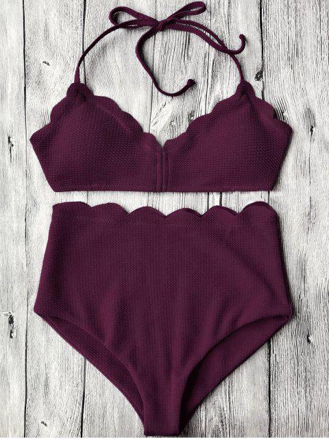 latest Halter Scalloped High Waisted Bikini Set - MERLOT S Mobile