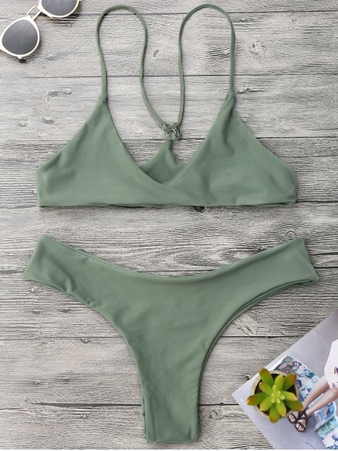 unique Spaghetti Strap Thong Bikini Set - ARMY GREEN S Mobile