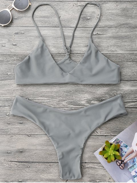 buy Spaghetti Strap Thong Bikini Set - GRAY M Mobile