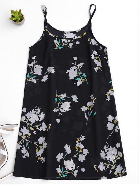 Robe florale transparente à bretelle - Noir S Mobile