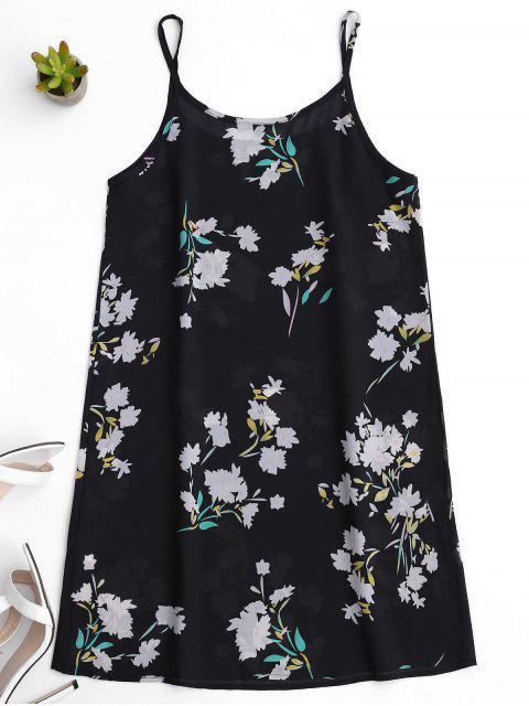 chic Floral See-Through Slip Dress - BLACK S Mobile
