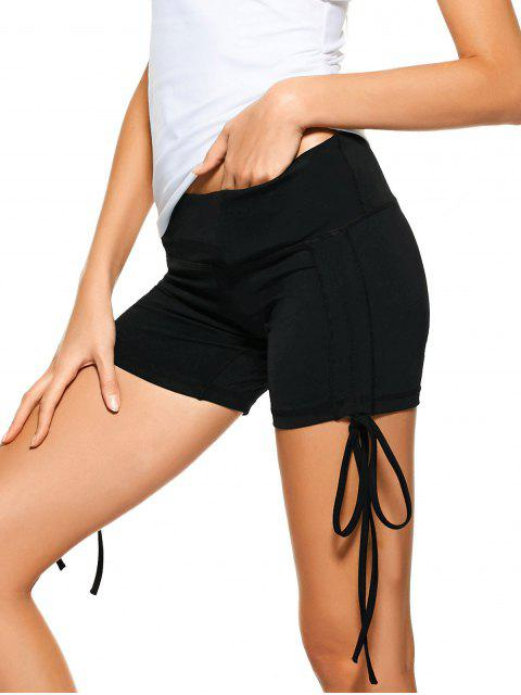 outfits Side Drawstring Sporty Shorts - BLACK M Mobile