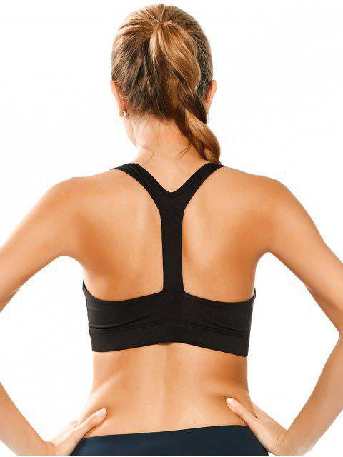 fancy Padded Y Back Sporty Bra - BLACK M Mobile