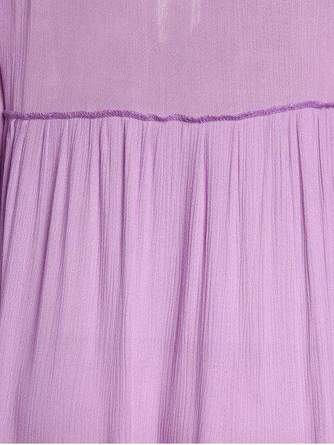 women's Scoop Neck Embroidered Swing Maxi Dress - PURPLE M Mobile