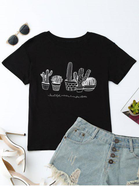 T-Shirt en coton à motif de cactus graphiques - Noir M Mobile