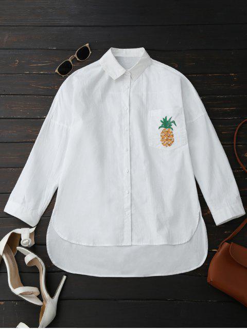 best Boyfriend High Low Pineapple Pocket Shirt - WHITE L Mobile