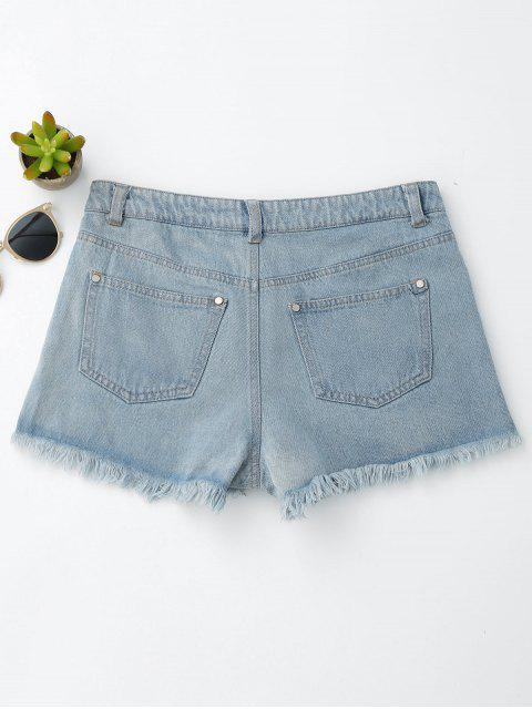affordable Floral Embroidered Frayed Hem Hot Denim Shorts - DENIM BLUE M Mobile