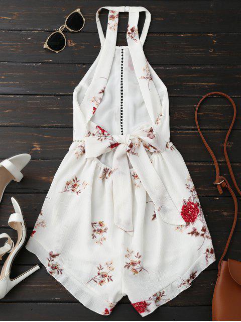 Combishort Floral Dos Ouvert Avec Ceinture - Blanc M Mobile