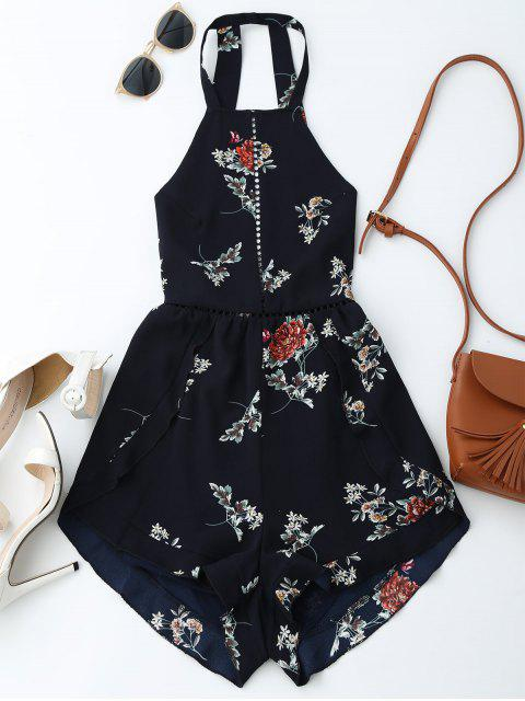 outfit Open Back Floral Romper With Belt - PURPLISH BLUE S Mobile