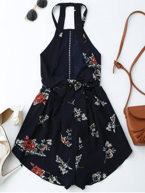 shop Open Back Floral Romper With Belt - PURPLISH BLUE L Mobile