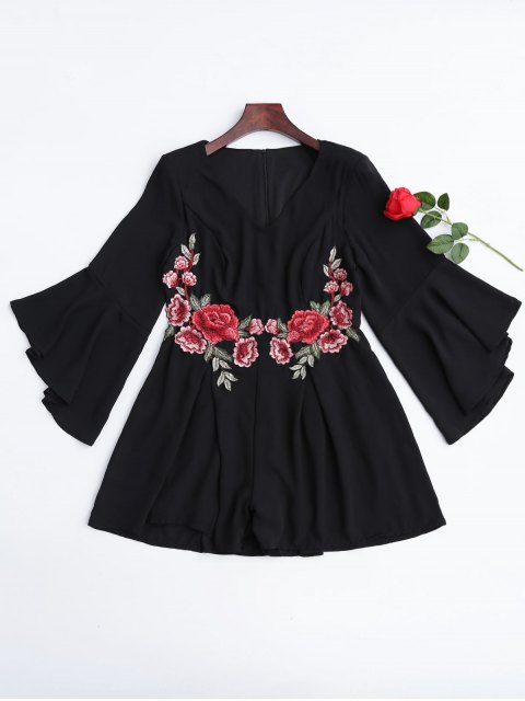 trendy Flare Sleeve Ruffles Floral Embroidered Romper - BLACK L Mobile