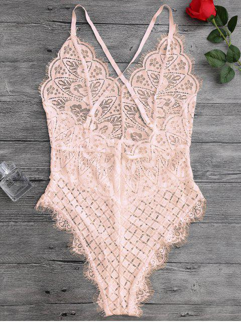 outfit Scaolloped Sheer Eyelash Lace Teddy Bodysuit - APRICOT M Mobile