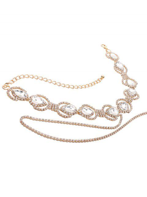 shops Sparkly Faux Crystal Rhinestone Alloy Chain Necklace - GOLDEN  Mobile