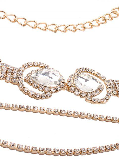 Sparkly Faux Crystal Rhinestone Enloy Chain Necklace - Or  Mobile