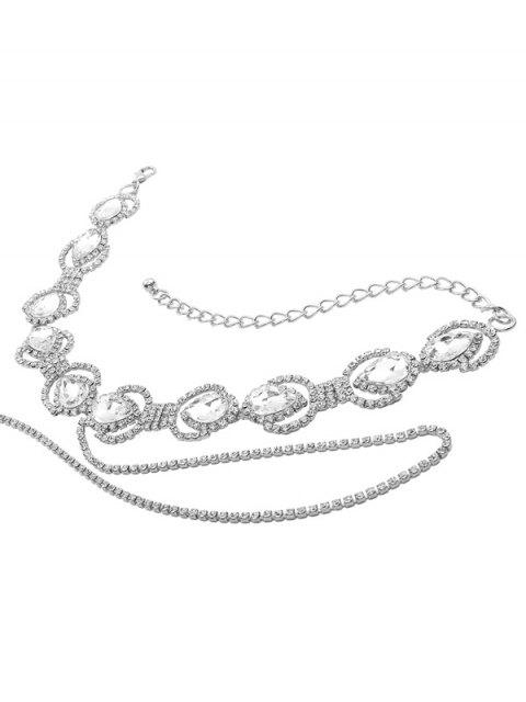 Sparkly Faux Crystal Rhinestone Enloy Chain Necklace - Argent  Mobile