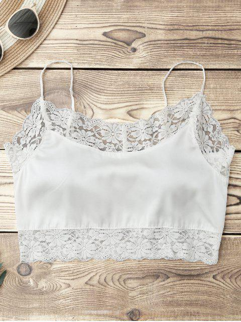 women Satin Lace Panel Cropped Top - WHITE ONE SIZE Mobile