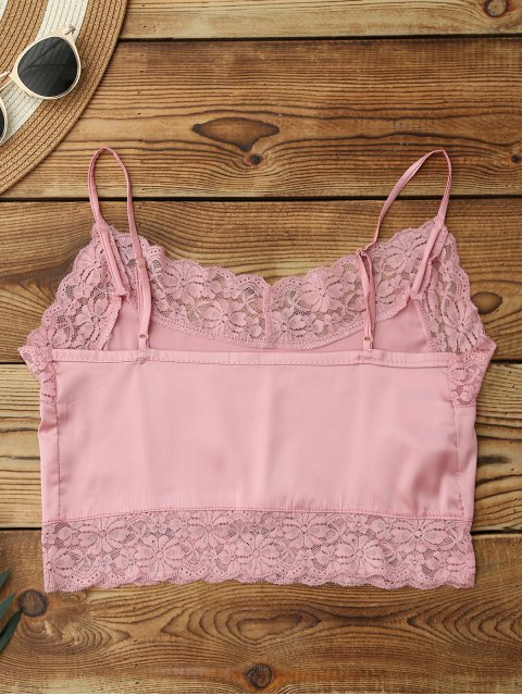 women's Satin Lace Panel Cropped Top - PINK ONE SIZE Mobile