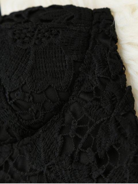 ladies Cropped Lace Tank Top - BLACK M Mobile