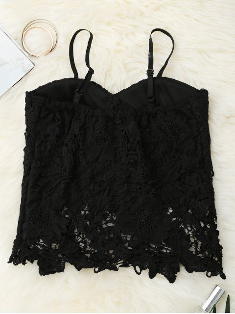 lady Cropped Lace Tank Top - BLACK S Mobile