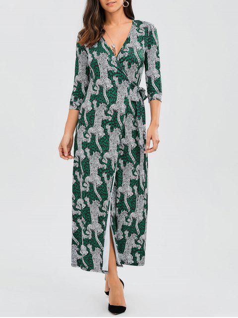 trendy Leopard Wrap Maxi Dress - LEOPARD S Mobile