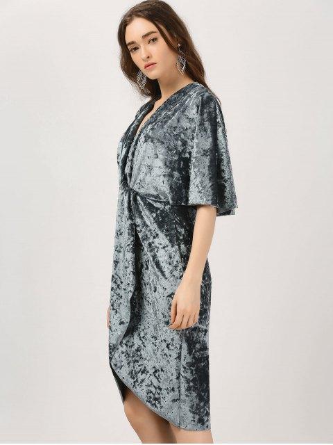 ladies Plunge Twist Front Asymmetric Velvet Dress - BLUE GRAY L Mobile
