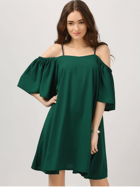 best Elastic Straps Cold Shoulder Bell Sleeve Dress - BLACKISH GREEN L Mobile