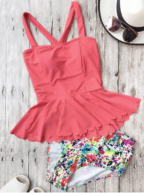 Tankini de Peplum con Cintura Alta con Faldas Fruncidas - Sandia Roja XL Mobile