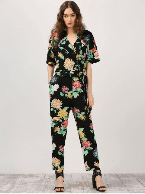 online Floral Surplice Jumpsuit With Pocket - BLACK L Mobile