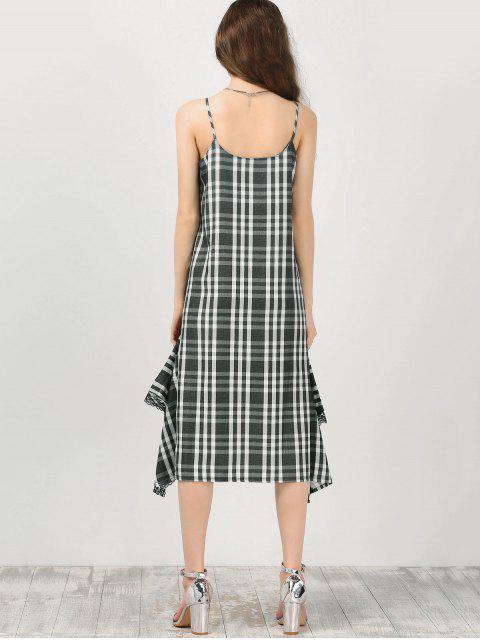 shop Cami Lace Panel Plaid Asymmetric Dress - CHECKED S Mobile