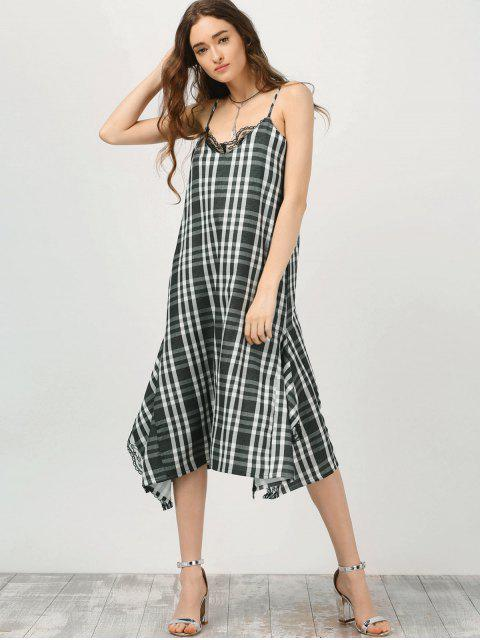 latest Cami Lace Panel Plaid Asymmetric Dress - CHECKED L Mobile