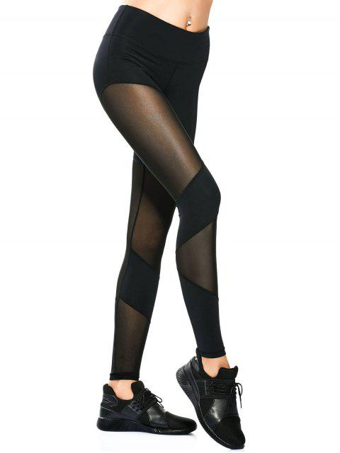 Leggings de Yoga moulants insérés maille - Noir XL Mobile