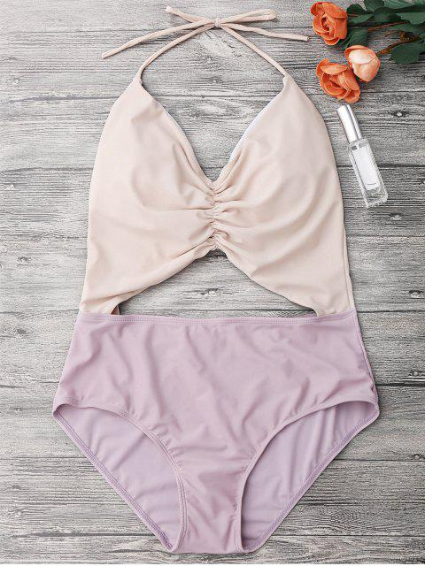 latest Color Block Ruched Cutout One Piece Swimsuit - NUDE M Mobile