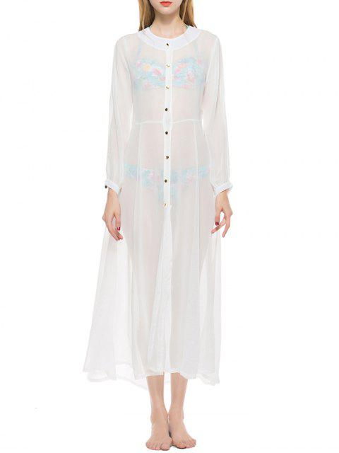 shops Sheer Button Up Longline Chiffon Cover Up - WHITE M Mobile
