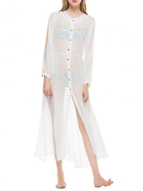 Sheer Botón Hasta Longline Chiffon Cover Up - Blanco M Mobile