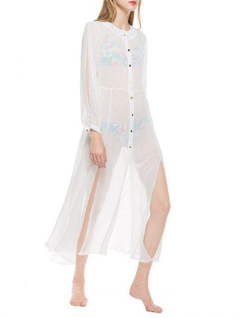 Sheer Button Up Longline Chiffon Cover Up - Blanc XL Mobile