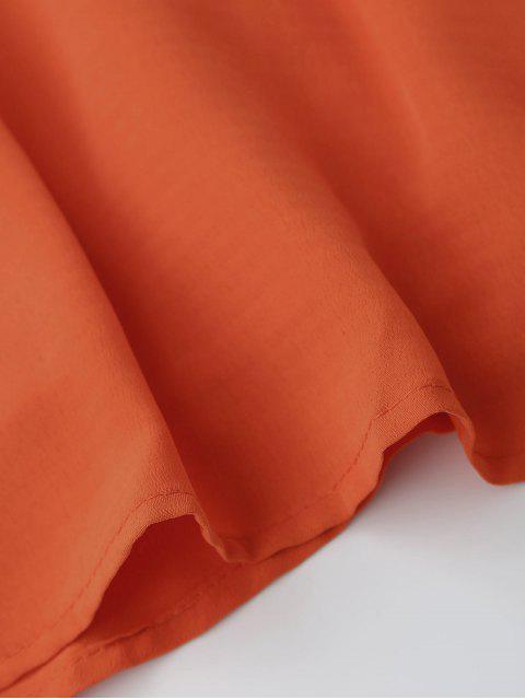 latest Jewel Neck Cold Shoulder Floral Embroidered Dress - ORANGE RED S Mobile