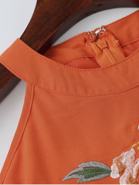 Robe rose de broderie aux  épaules dénudées - Saumon L Mobile