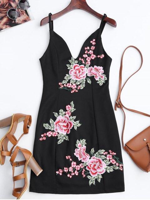 women's Floral Embroidered Mini Bodycon Dress - BLACK 2XL Mobile