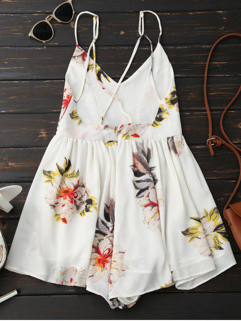 Spaghetti Strap Backless Floral Wide Leg Romper - Blanc M Mobile
