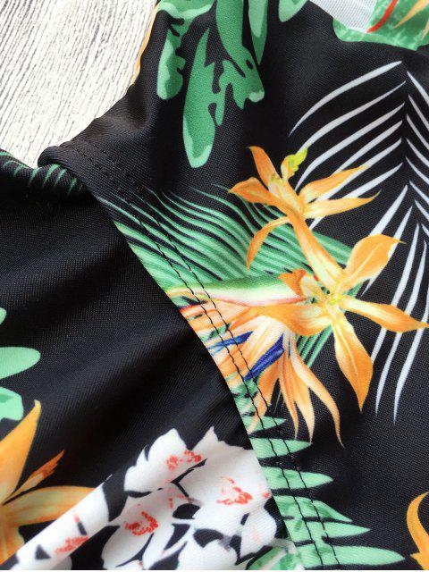 Ruffled Leaf Print High Cut Underwire Swimwear - Noir M Mobile