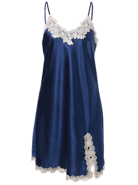 outfits Lace Trimmed Satin Slip Sleep Dress - ROYAL BLUE L Mobile