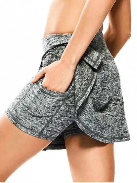 trendy Skirted Space Dyed Sporty Shorts - LIGHT GRAY S Mobile